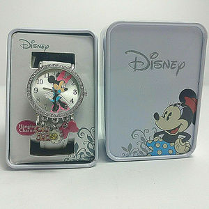 DISNEY MINNIE  HANGING CHARMS Faux Leather Watch
